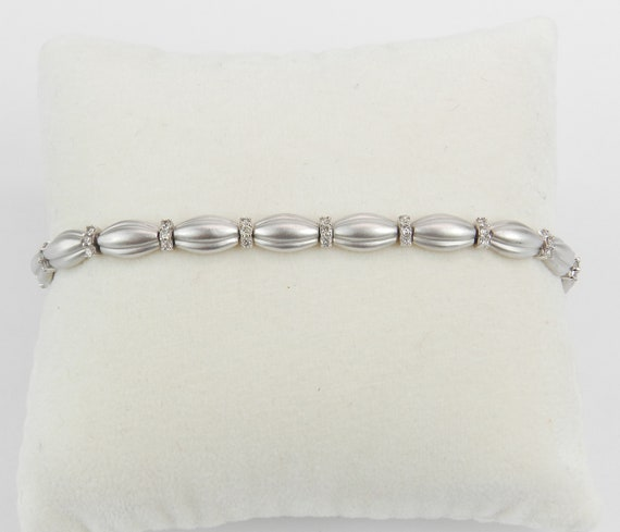 14K White Gold Diamond Tennis Bracelet Satin Finish Fashion Bracelet Unique Design