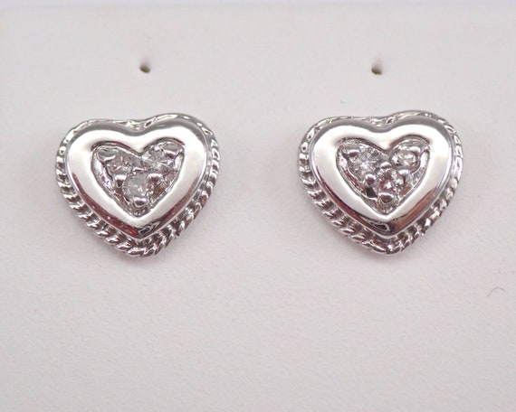 14K White Gold Diamond Heart Stud Earrings Halo Cluster Studs Unique Wedding Gift