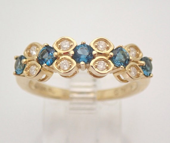 Yellow Gold Diamond and London Blue Topaz Wedding Ring Anniversary Band Size 7 FREE Sizing