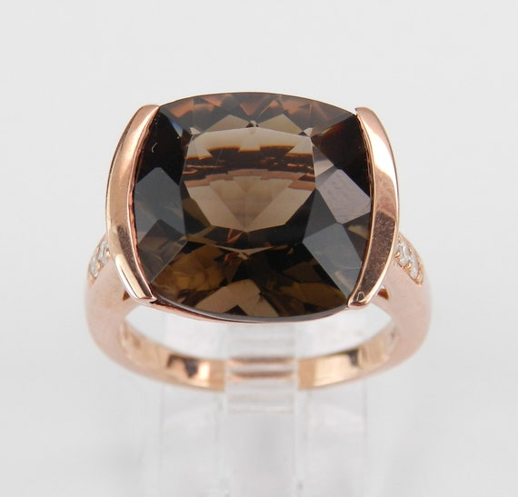 8.15 ct Diamond and Smokey Topaz Engagement Ring Rose Gold Size 7 Cushion Cut