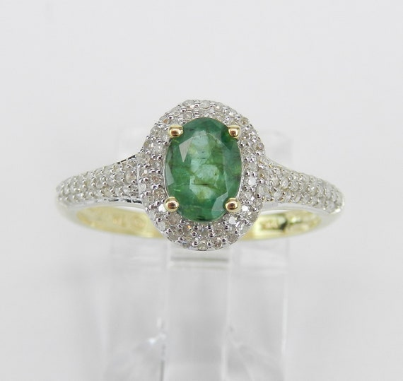 Emerald Engagement Ring, Yellow Gold Diamond Ring, Emerald Halo Ring, May Birthstone Ring, Emerald and Diamond Ring, Size 7