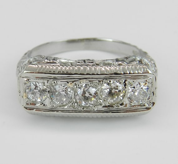 Antique Diamond Ring, Art Deco 18K White Gold Band, Old Miner Diamond Wedding Ring, One of a Kind Band, Size 4.25