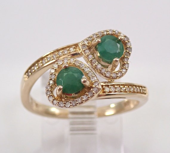 Yellow Gold Diamond and Emerald Bypass Heart Ring Size 7 May Birthstone FREE Sizing