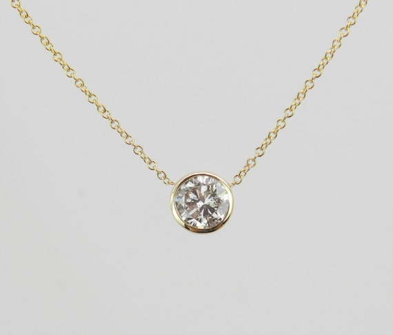 "14K Yellow Gold Diamond Solitaire Pendant Necklace 20"" Chain Bezel Set .74 ct"