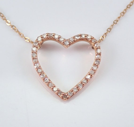 "14K Rose Gold Diamond Heart Pendant Necklace 17"" Chain Wedding Graduation Gift Present"