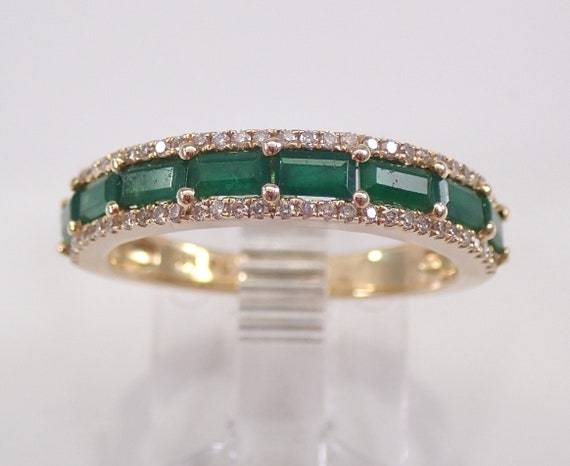 Yellow Gold Diamond and Baguette Emerald Anniversary Band Wedding Ring Size 7 May Birthday FREE Sizing