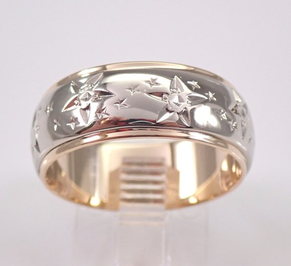 Antique Vintage 14K Yellow and White Gold Wedding Ring Star Celestial Anniversary Band Size 8.5
