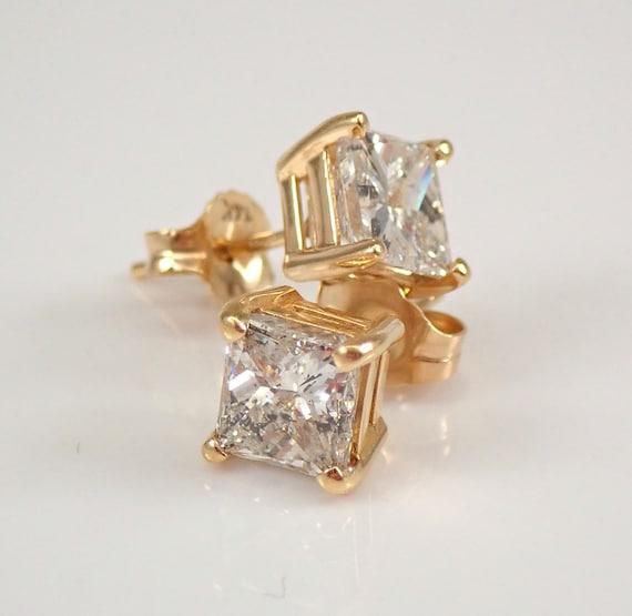 14K Yellow Gold 2.00 ct Princess Cut Diamond Stud Earrings Square Brilliant Studs