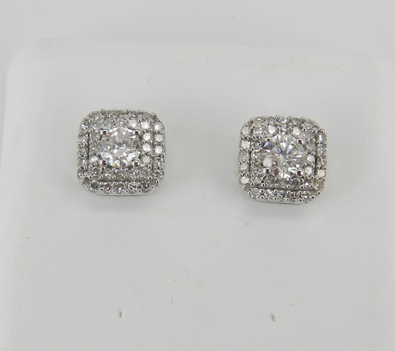 White Gold Diamond Studs Cluster Stud Earrings Diamond Double Halo Studs Cushion Cut Shape