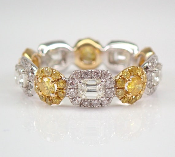 2.23 ct CANARY Diamond Eternity Halo Wedding Ring Anniversary Band 18K White and Yellow Gold Size 6.5