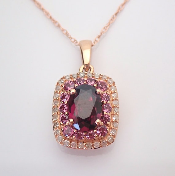 "Rhodolite Garnet Pink Tourmaline and Diamond Halo Pendant Necklace 18"" Chain 14K Rose Gold January Gemstone"