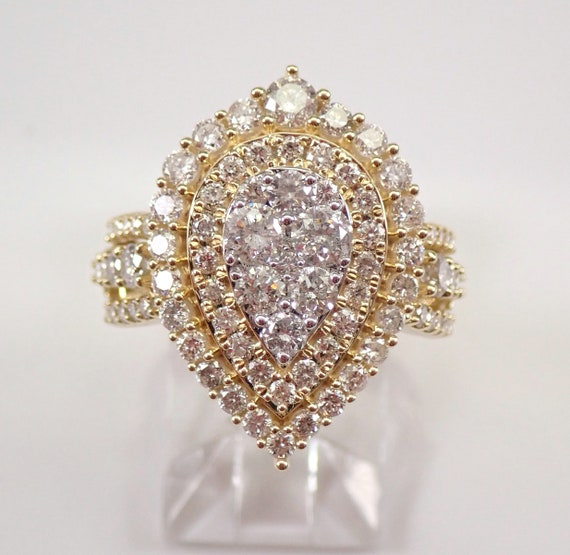 2.00 ct Diamond Cluster Cocktail Ring Pear Engagement Ring Yellow Gold Size 7 FREE SIZING