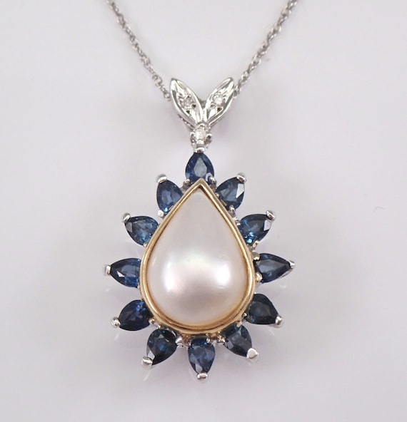 """Vintage Estate 14K White Gold Diamond Sapphire and Mabe Pearl Pendant Necklace Chain 18"""""""