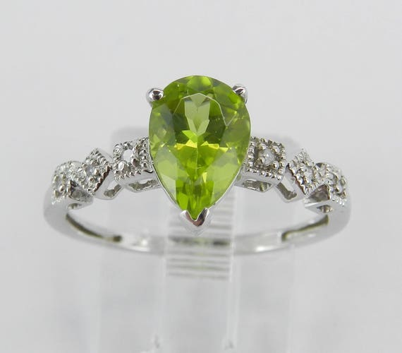 SUPER SALE! Pear Peridot and Diamond Engagement Promise Ring White Gold Size 6 3/4 August Gem Birthstone FREE Sizing