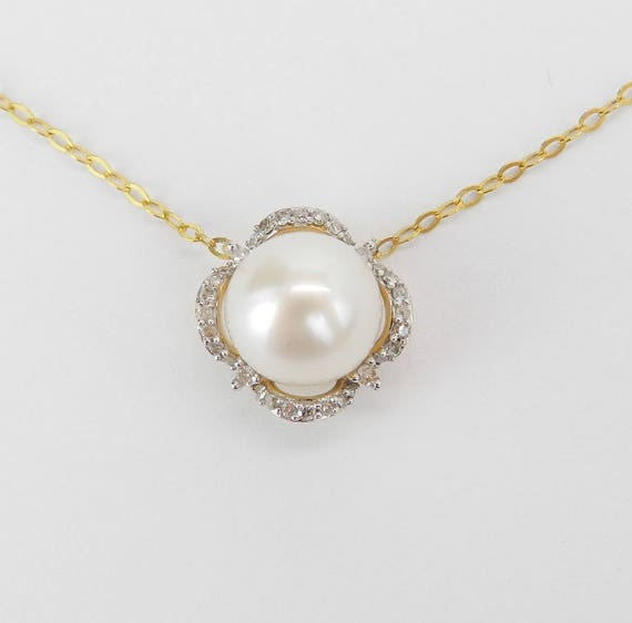 """14K Yellow Gold Diamond and Pearl Halo Pendant Necklace with Chain 17"""" June Birthstone"""