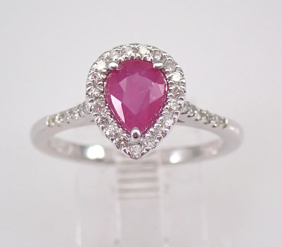 Diamond and Pear Ruby Halo Engagement Ring 14K White Gold Size 6.75 July Gem FREE Sizing