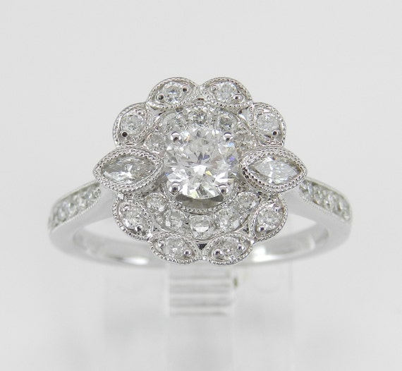 Diamond Engagement Ring, Double Halo Ring, Diamond Flower Engagement Ring, 14K White Gold Bridal Ring