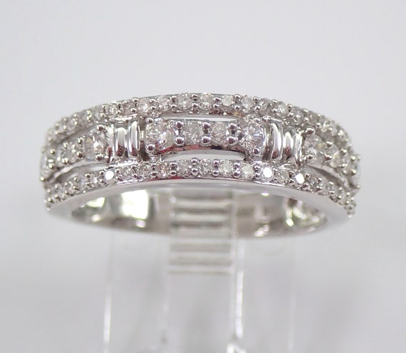 White Gold 1/2 ct Diamond Wedding Ring Anniversary Band 3 Row Stackable Look Size 7