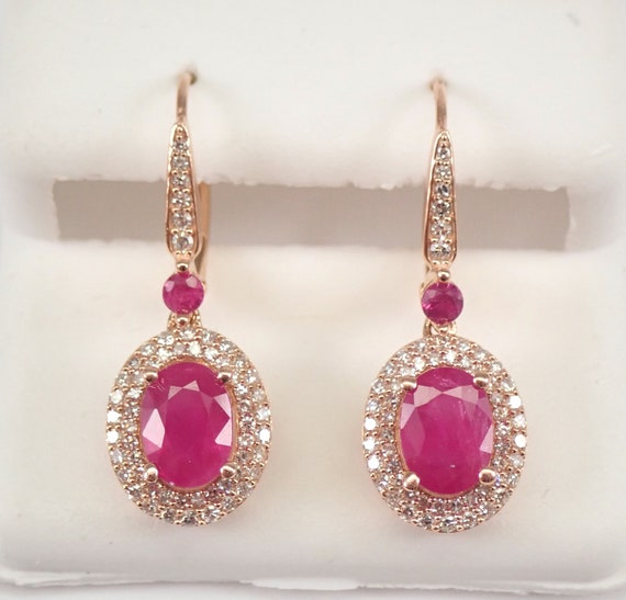 Rose Gold 3.70 ct Ruby and Diamond Halo Drop Earrings July Birthstone Leverback