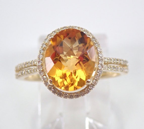 Diamond and Oval Citrine Halo Engagement Ring Yellow Gold Size 7 November Birthstone FREE Sizing