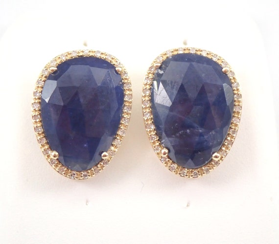 Sapphire and Diamond Stud Earrings Halo Studs Yellow Gold September Birthstone