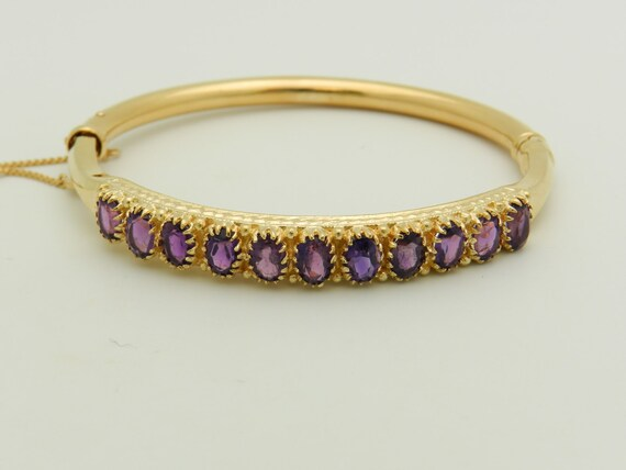 Vintage Amethyst Bracelet, Amethyst Bangle Bracelet, 14K Yellow Gold Bracelet, Estate Yellow Gold Bangle, Antique Amethyst Bangle Bracelet