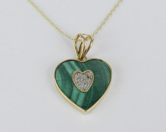 "Vintage Estate 14K Yellow Gold Diamond and Malachite Heart Pendant Necklace 18"""