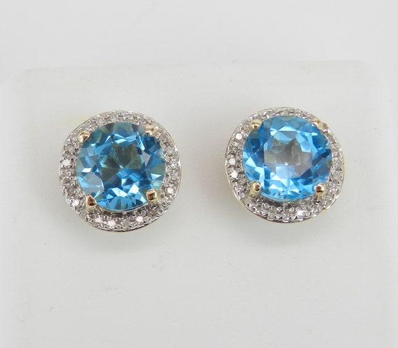 Blue Topaz and Diamond Stud Earrings Halo Studs 14K Yellow Gold December Birthstone
