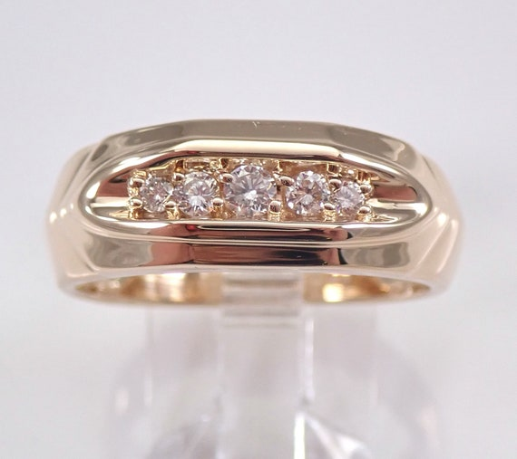 Estate Vintage Mens Diamond Wedding Ring Anniversary Band 14K Yellow Gold Size 10