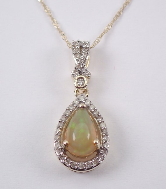 """Diamond and Ethiopian Opal Halo Drop Pendant Necklace Yellow Gold 18"""" Chain October Birthstone"""