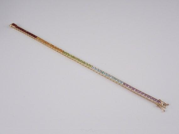 Yellow Gold Multi Color Gemstone Line Tennis Bracelet Princess Cut Amethyst Blue Topaz Peridot Garnet Citrine