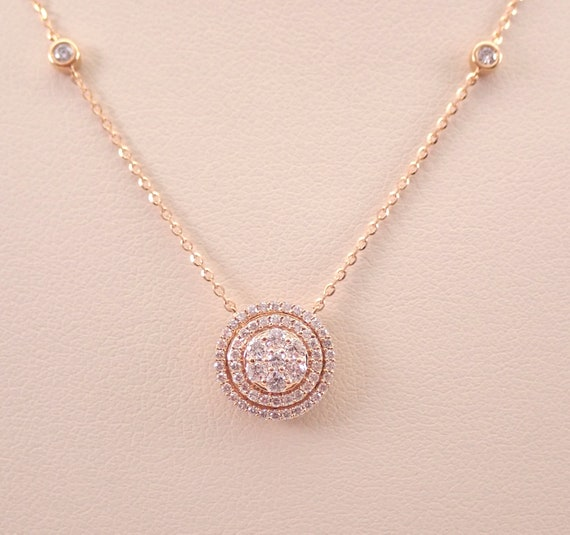 "18K Rose Gold Diamond Halo Solitaire Cluster Pendant Necklace 17"" Chain Genuine"