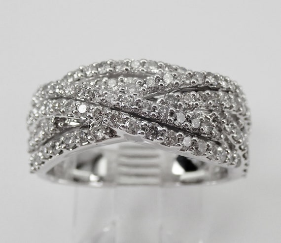 1.00 ct Diamond Wedding Ring Anniversary Band Crossover Ring 14K White Gold Size 7