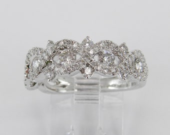 14K White Gold 1.10 ct Diamond Anniversary Band Cluster Cocktail Wedding Ring Stackable Size 7