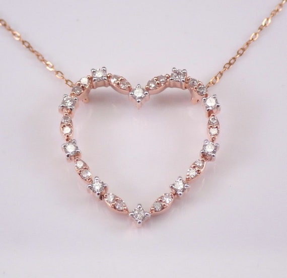 "Rose Gold Diamond Heart Pendant Necklace 16.5"" Chain Wedding Gift Love"