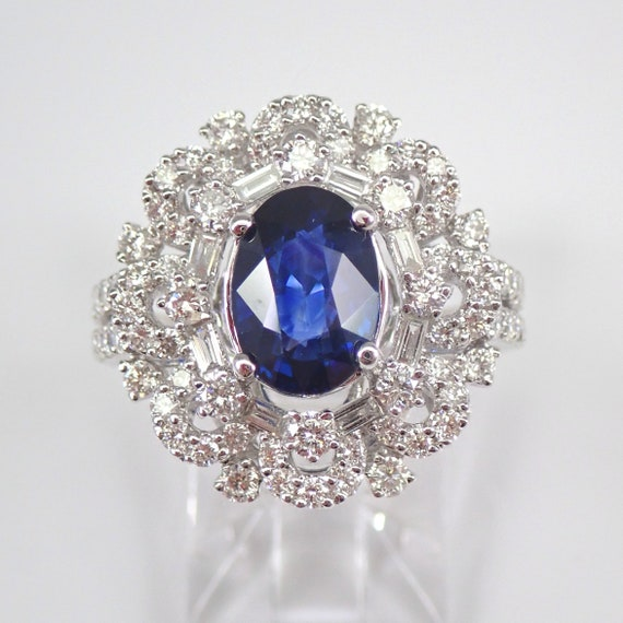 18K White Gold 4.92 ct Diamond and Sapphire Halo Engagement Ring Size 7 September Gemstone Something Blue FREE Sizing