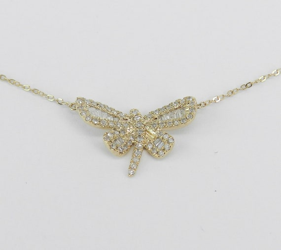 "Diamond Dragonfly Pendant 14K Yellow Gold Necklace Chain 17"" Wedding Gift"