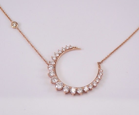 "18K Rose Gold Diamond CRESCENT MOON Necklace 18"" Necklace Chain Wedding Gift"