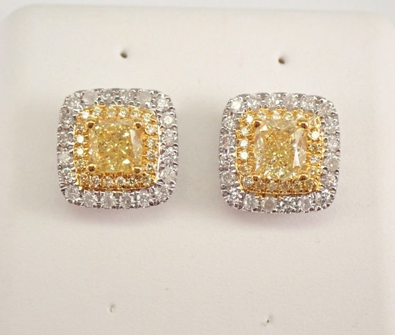 18K White Gold Cushion Cut CANARY Diamond Stud Earrings Halo Studs MUST SEE