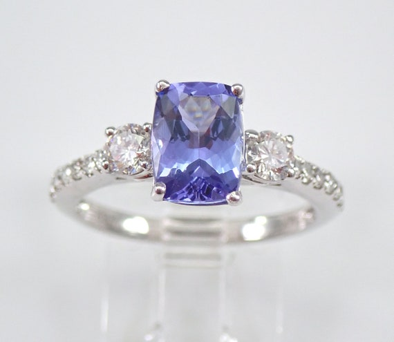 14K White Gold Diamond and Cushion Cut Tanzanite Engagement Ring Size 7