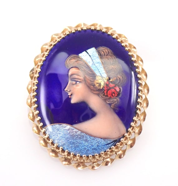 Antique Victorian 14K Yellow Gold French Hand Painted Brooch Pin Pendant