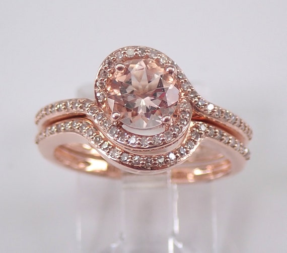 Diamond and Morganite Halo Engagement Ring Wedding Band Set Rose Gold Size 6 FREE Sizing