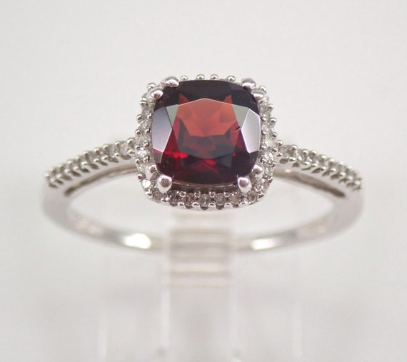 White Gold Garnet and Diamond Engagement Ring Size 7 Cushion Cut January Birthstone FREE Sizing