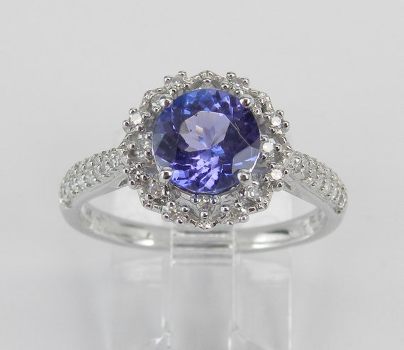 Tanzanite and Diamond Halo Flower Engagement Ring 14K White Gold Size 7 Purple Gem