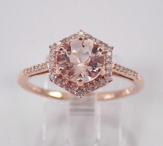Round Morganite and Diamond Halo Engagement Ring Rose Gold Size 7 Unique Design