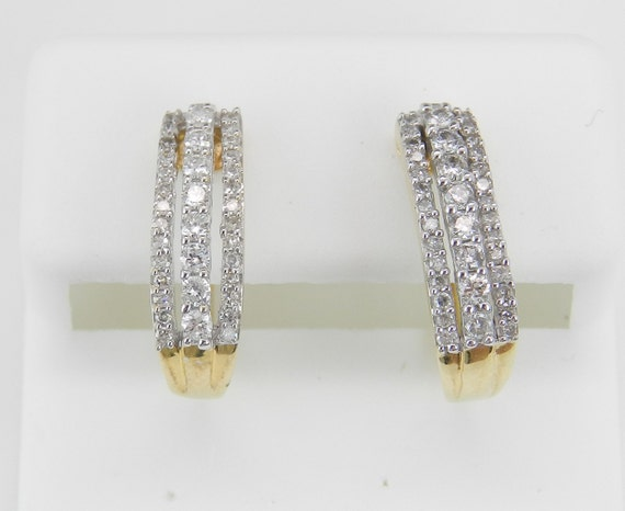 Diamond Hoop Earrings Diamond Hoops set in 14K Yellow Gold