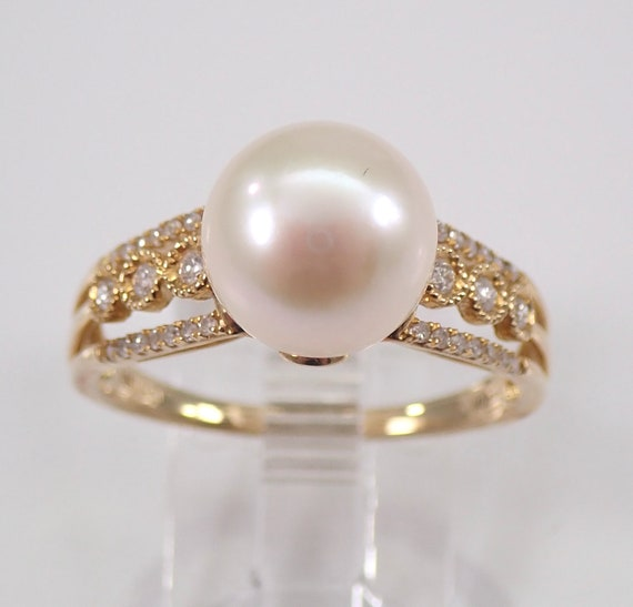 Yellow Gold 9.5 mm Pearl and Diamond Engagement Ring Promise Ring Size 8.75 June Birthstone FREE Sizing