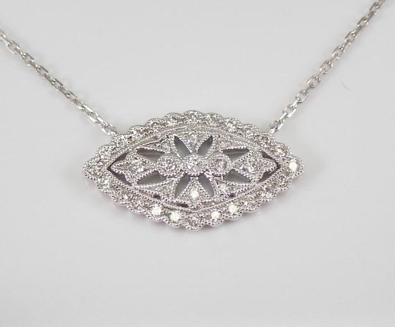 Antique Style Diamond Cluster Necklace Pendant 18K White Gold Adjustable Chain Wedding