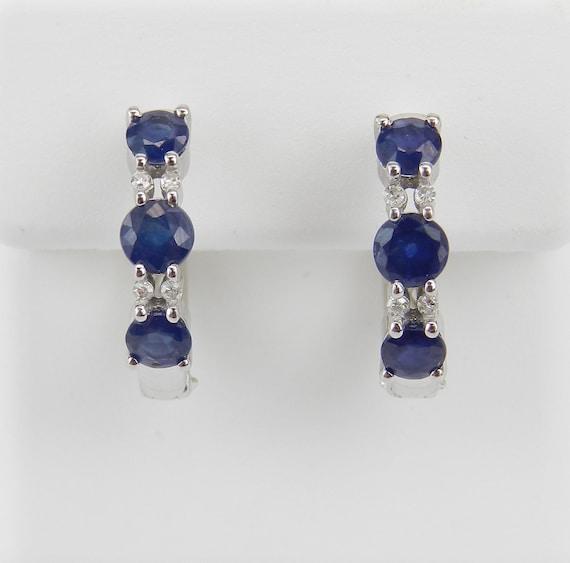 Diamond and Sapphire Hoop Earrings White Gold Hoops Huggies September Birthstone