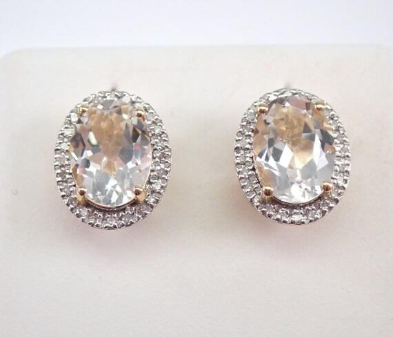 White Topaz and Diamond Stud Earrings Halo Studs 14K Yellow Gold Birthday Gift